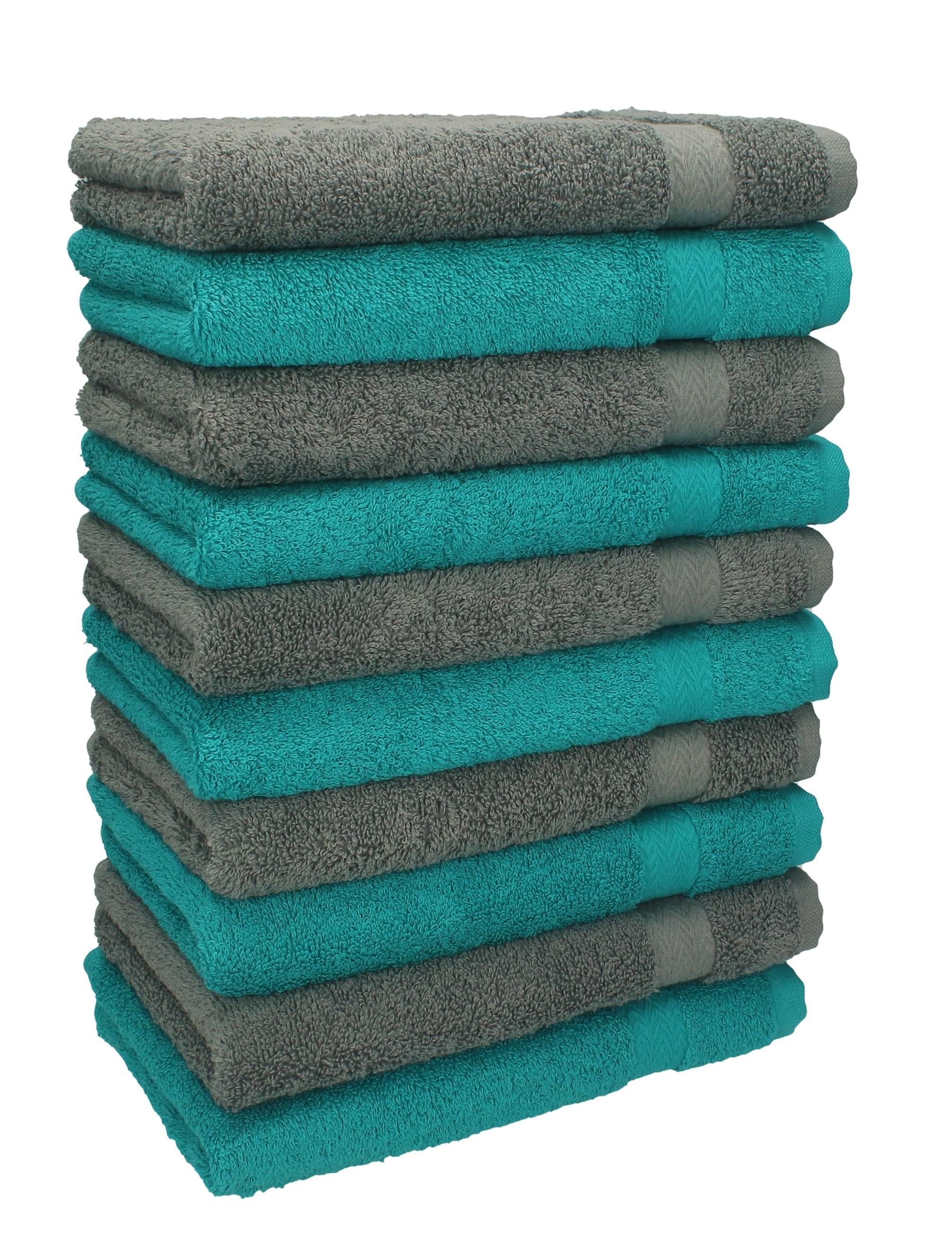 Couleur Vert Emeraude Foncé détails sur betz lot de 10 serviettes débarbouillettes premium vert  émeraude gris anthracite