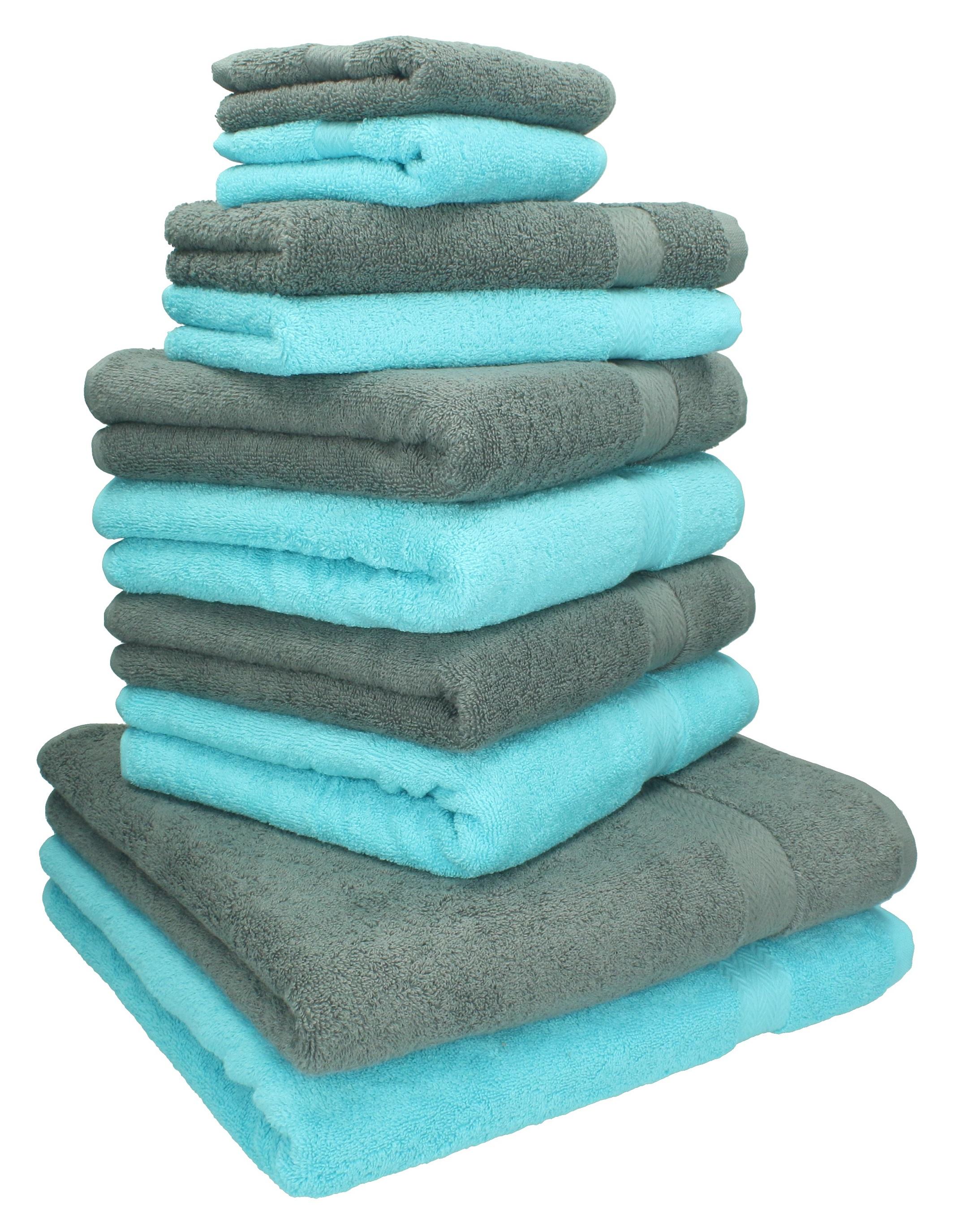 10 tlg handtuch set classic premium farbe t rkis anthrazit grau 2 seift ebay. Black Bedroom Furniture Sets. Home Design Ideas