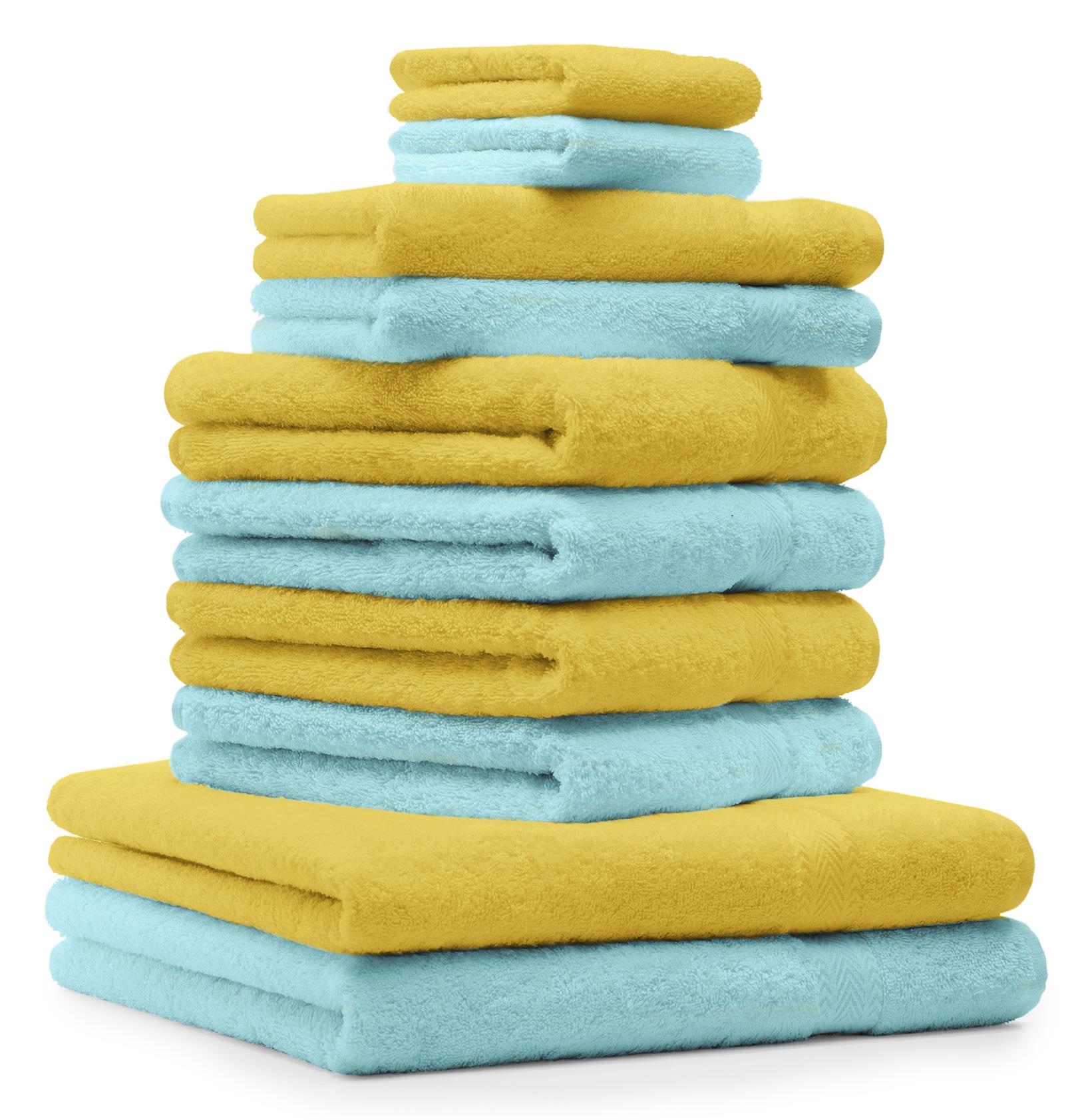 10 tlg handtuchset premium gelb t rkis 2 duscht cher. Black Bedroom Furniture Sets. Home Design Ideas