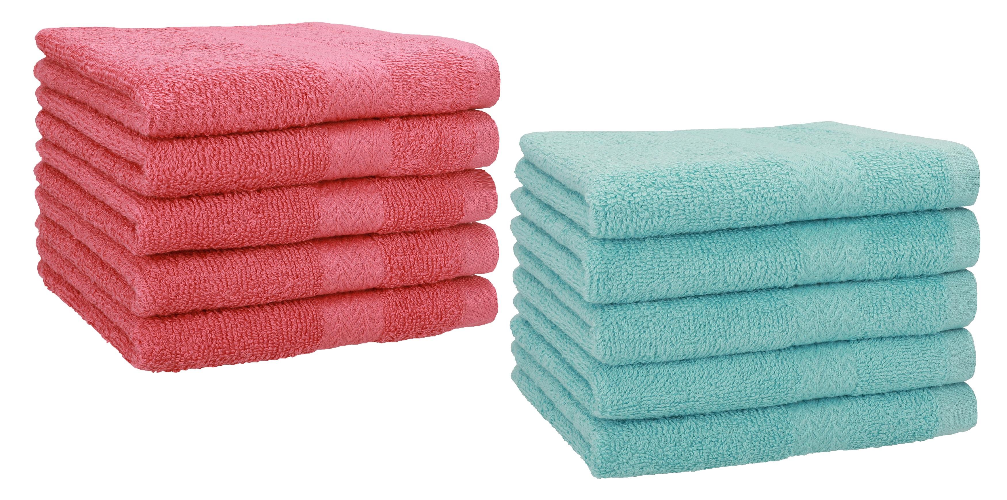 """Misura Verde Smeraldo e Grigio Antracite Colore 30 x 50 cm BETZ Set di 10 Asciugamani per Gli Ospiti /""""Premium/"""""""