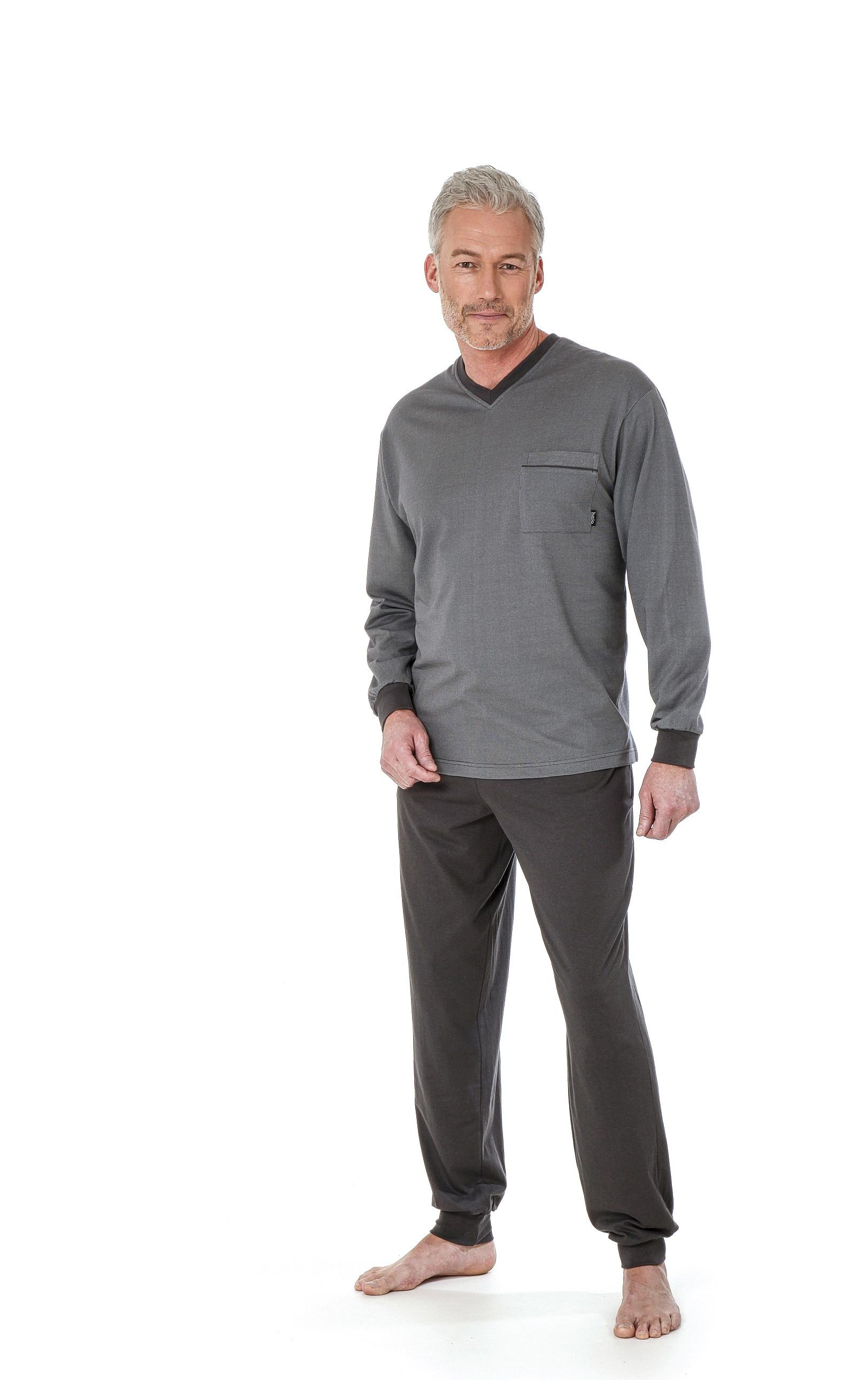 Schlafanzug Langarm Gr Pyjama Jersey S,M,L,XL,XXL uni hellgrau Bündchen